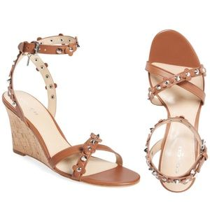 Coach Rosemary Flower Stud Wedge Sandals Camel